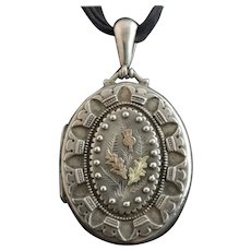 Victorian silver locket, gold thistle, aesthetic