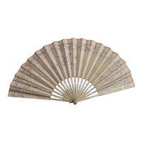 Antique silk and bone hand fan