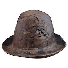 Antique novelty hat inkwell, Swiss folk art