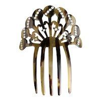 Vintage Art Deco hair comb, faux tortoiseshell