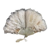 Antique Edwardian feather hand fan