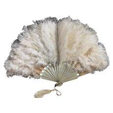 Antique Edwardian feather hand fan