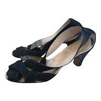Vintage 1940s strappy sandals, black suede