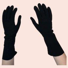 Vintage black kid leather gloves, Dents