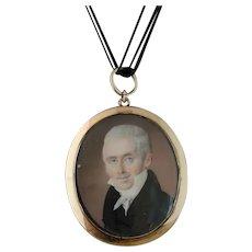 Antique gold portrait locket, mourning pendant