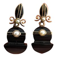 Antique Victorian onyx, pearl and gold earrings
