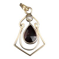 Antique Art Nouveau garnet and seed pearl pendant