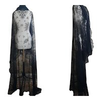 Antique long black lace shawl
