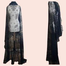 Antique long black lace shawl
