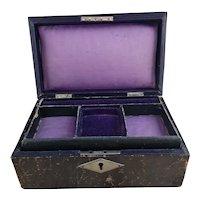 Antique leather and velvet jewellery box