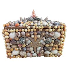 Vintage seashell box, large, jewelry, keepsake