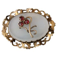 Victorian chalcedony and paste flower brooch