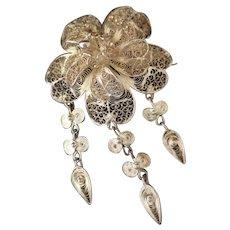 Antique Silver cannetille dropper brooch