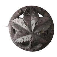 Antique Victorian jet leaf brooch