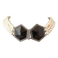 Vintage Art Deco cultured pearl choker necklace