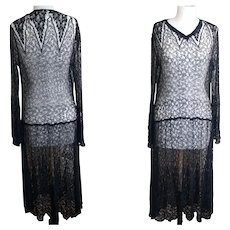 Vintage 1920's cobweb lace dress and vest