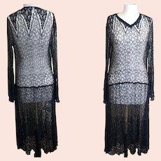Vintage 1920's cobweb lace dress and vest