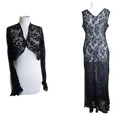 Vintage 30s black lace dress and bolero