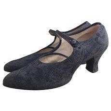 Vintage 1920's Black satin shoes