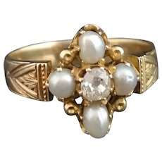 Antique diamond and pearl navette ring, 15k gold
