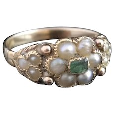 Victorian emerald and pearl forget me not ring, 15k gold