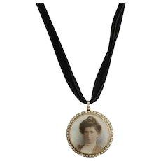 Victorian portrait miniature pendant locket, seed pearl, 9k gold