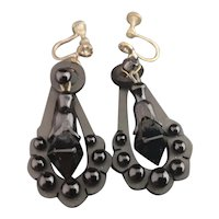 Victorian whitby jet drop earrings