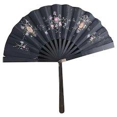 Victorian folding silk hand fan, floral