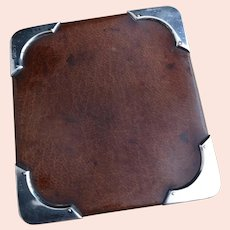 Antique mens silver mounted leather wallet