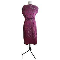 Vintage 1950s satin brocade dress