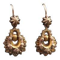 Victorian 22k drop earrings, horseshoe and acorn