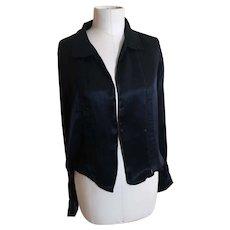 Vintage 1920's Black satin blouse