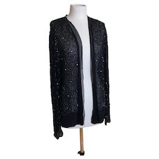 Vintage 20s Black chiffon beaded jacket