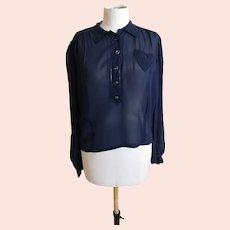 Vintage 1930's navy chiffon blouse top