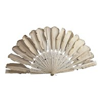 Antique pierced bone and silk feather hand fan