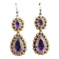 Antique Georgian 15k Amethyst drop earrings