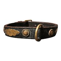 Victorian leather and brass dog collar