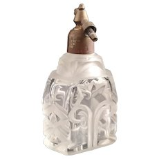 Vintage Art Deco etched glass perfume bottle