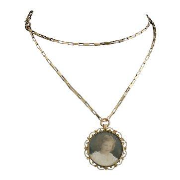 Antique 9k gold portrait pendant, girl, necklace