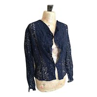 Vintage 1930's navy lace jacket