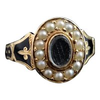 Antique 18k mourning ring, black enamel and pearl