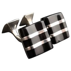 Vintage gents Onyx and silver cufflinks