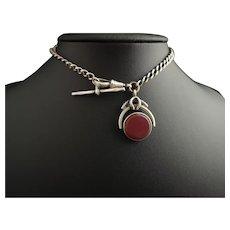 Antique sterling silver Albert chain, watch chain