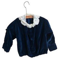 Antique Victorian childs blue velvet jacket
