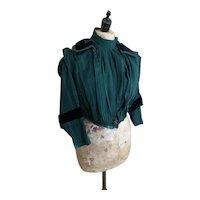 Antique Victorian green and black velvet bodice