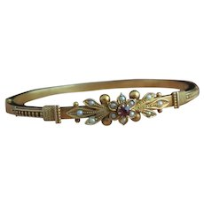 Victorian 15k gold bangle, Ruby and pearl