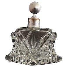 Vintage Art Deco cut glass scent bottle, perfume atomiser