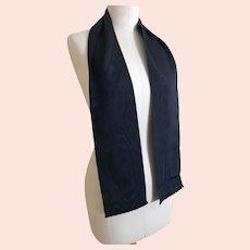 Antique Victorian black moire silk scarf