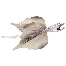 Vintage Norwegian silver leaf brooch