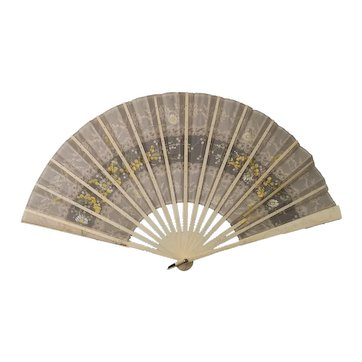 Victorian hand painted bone fan